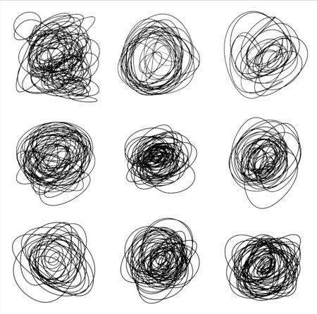 Set of abstract tangled hand drawn scrawls in. Black vector doodle shapes of messy lines for graphic and package design.