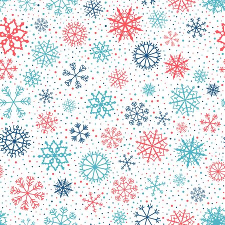 Winter vector seamless pattern with blue and red snowflakes and dots on white background for Christmas decor Vectores
