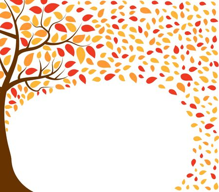 Autumn vector background with tree and leaves in red, yellow and orange colors