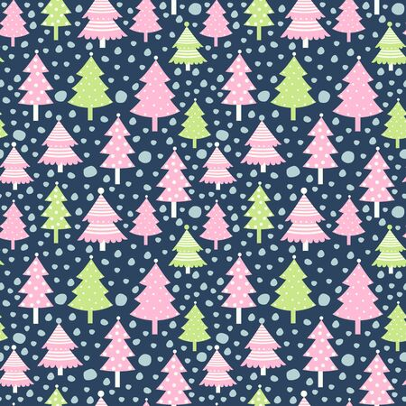 Christmas vector seamless pattern with winter trees and snow in pink and green colors for Christmas backgrounds and greeting cards