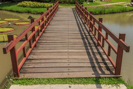 straight bridge in the park Stock Photo