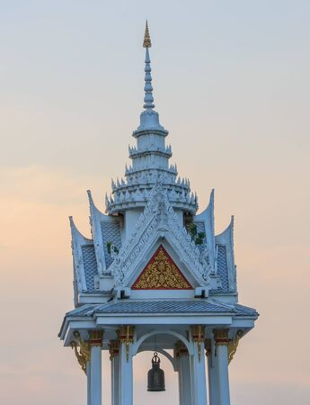 belltower in the temple at bangkok place. Stock Photo