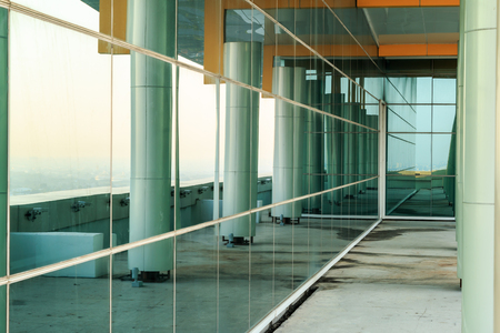 wall glass at top of building Stock Photo