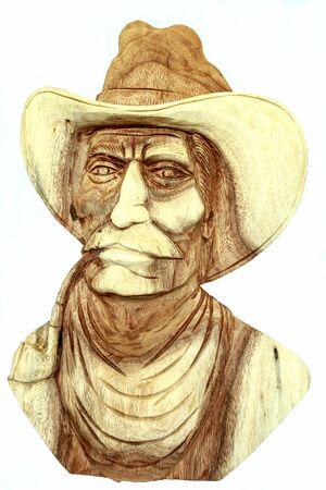 wood carving, american cowboy head statue