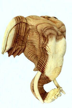 wood carving, elephant head statue