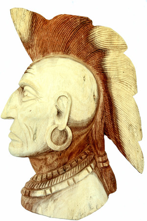 indian artifacts: wood carving, native american head statue