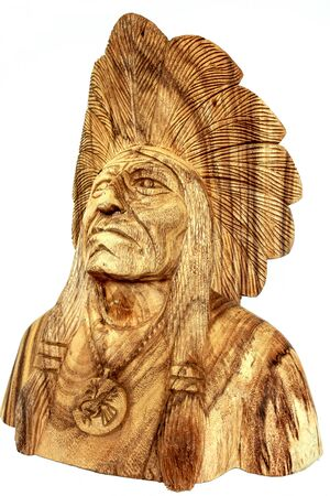 cultural artifacts: wood carving, native american head statue