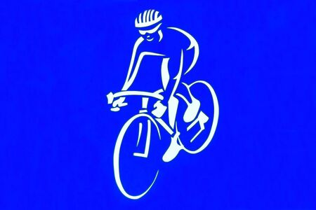 bicycle sign on the blue color plate Stock Photo