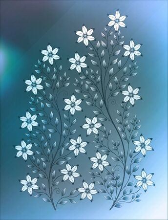 illustration flower pattern on colour background