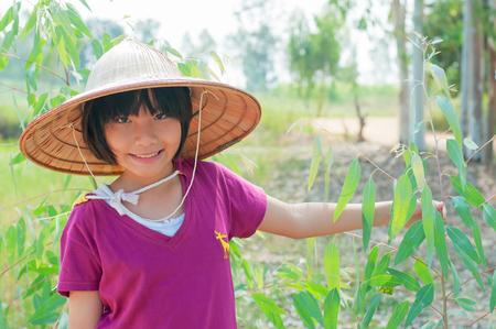 Asian cute girl in farm