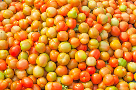 vine pear: close up various colourful tomatoes Stock Photo