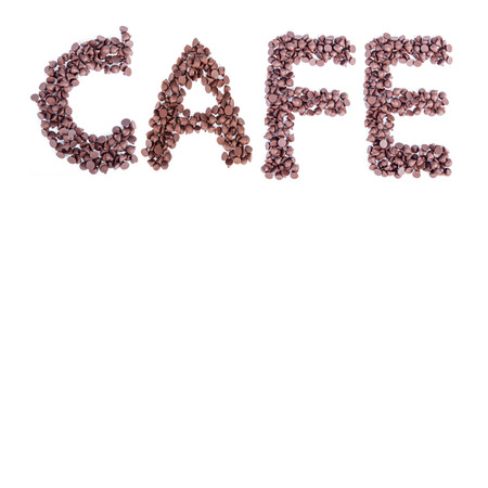 word cafe make from alignment of chocolate chips photo