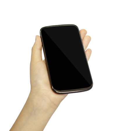 Girl hand is holding a modern touch screen phone. Screen is cut with clipping pathki photo
