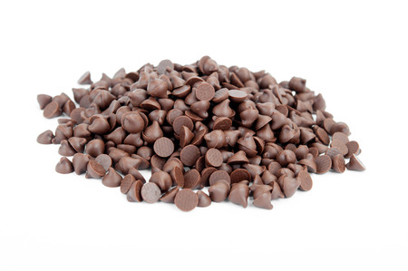 Chocolate Chips on White Background