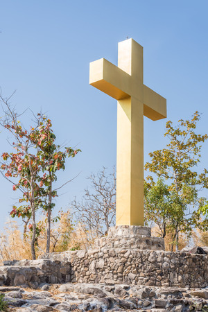 religious holiday: big cross on the top of mountain