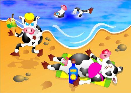 cow cartoon: beach cows