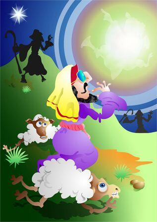 el �ngel y los pastores historia de Navidad  Foto de archivo - 229372
