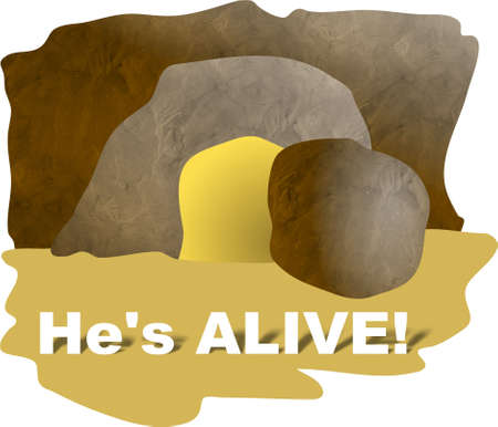 tomb empty: Hes Alive - the empty tomb Stock Photo