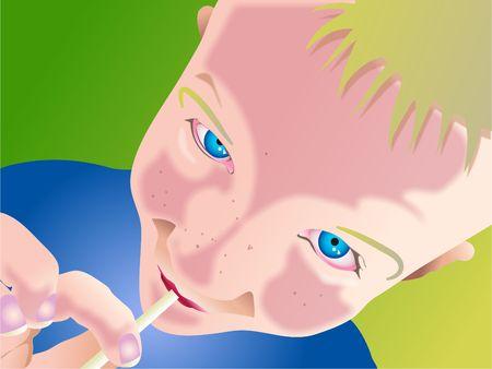 lolly: boy sucking a lollipop Stock Photo
