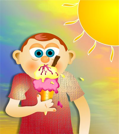 cute boy eating icecream cone photo