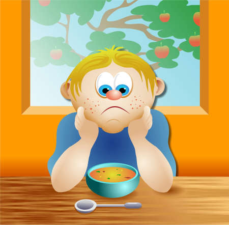 hes: boy with bowl of soup - hes not impressed Stock Photo