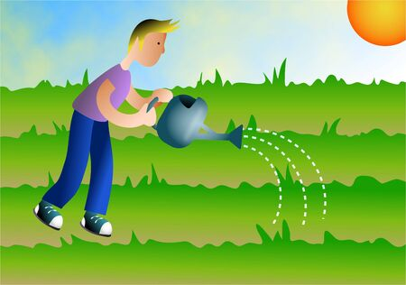 nurture: boy watering the earth Stock Photo