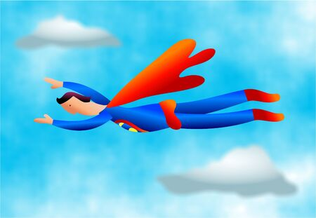 caped: superhero flying through the sky Stock Photo
