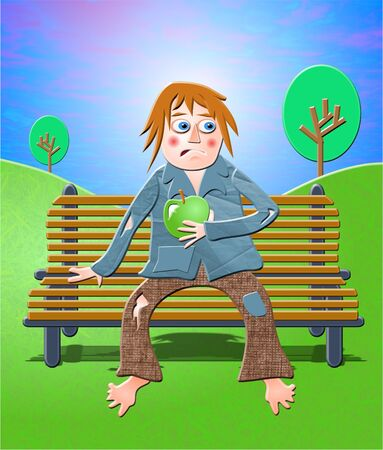 tramp sitting on a park bench Stock Photo - 242354