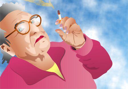 cigaret: elderly lady smoking a cigarette