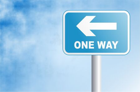 one way sign with background space Stock Photo