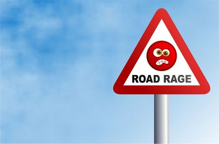 road rage: road rage concept sign with background space