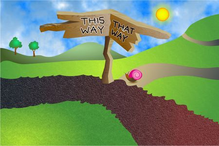 way to go: which way do you want to go this way or that way? Stock Photo