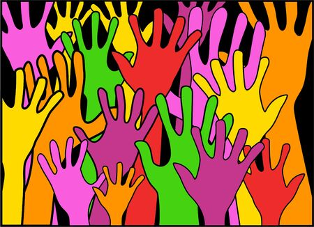 hands raised: colourful hands raised in the air