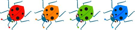 four ladybugs Stock Photo