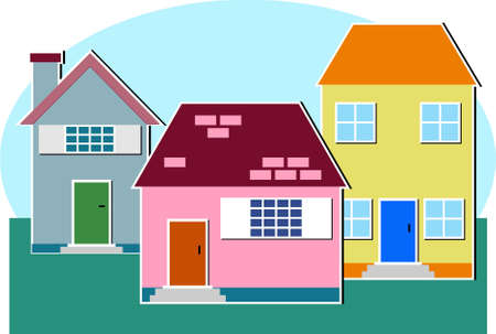 comfy: residential homes Stock Photo