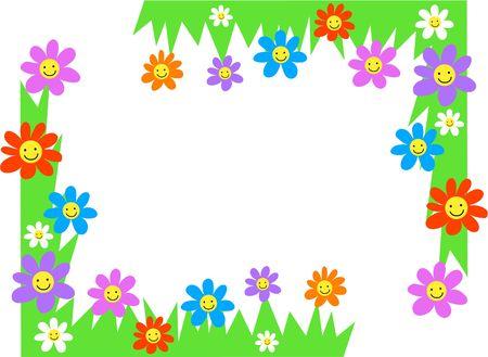 cartoons designs: felice fiori pagina angolo frontiere Archivio Fotografico