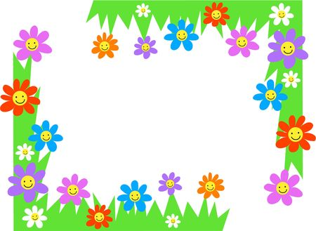 happy flowers page corner borders Stock Photo