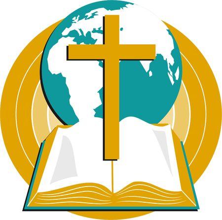 biblia: globo, biblia y cruz Foto de archivo