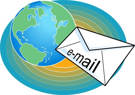 sent: email being sent around the world Stock Photo