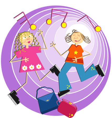 chicas bailando: las ni�as bailando ronda sus bolsos