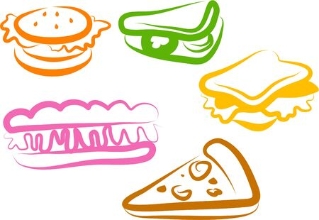 edibles: snack icons Stock Photo