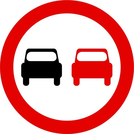 cars on road: no overtaking Stock Photo