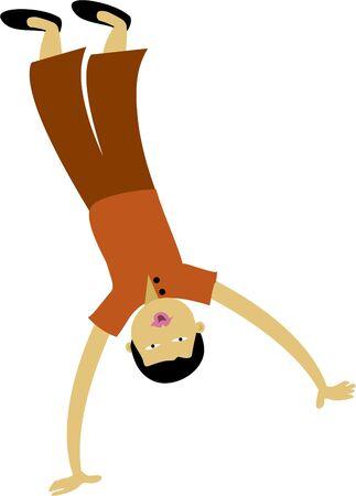 flink: Junge tut ein Cartwheel