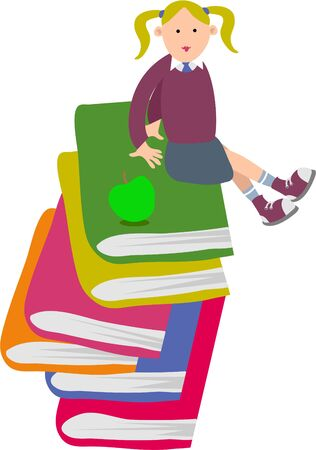 school girl sitting on a pile of books Stock Photo - 247913