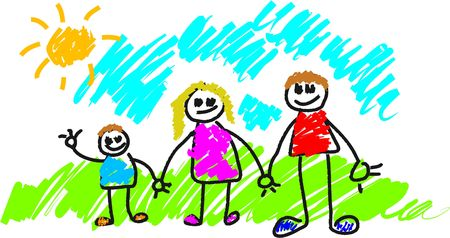 my family kids style drawing