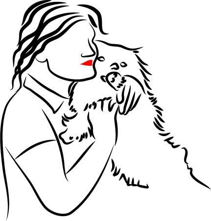 cuddling: woman cuddling pet dog