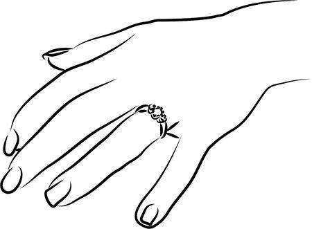 anillo de compromiso: mano muestra anillo de compromiso Foto de archivo