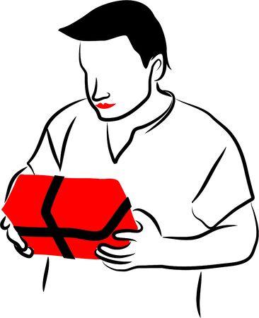 giftbox: man with giftbox Stock Photo