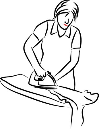 busy life: woman ironing