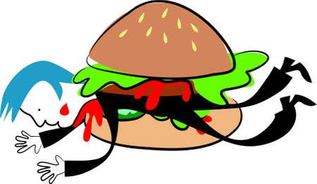 squashed: man squashed inside a burger